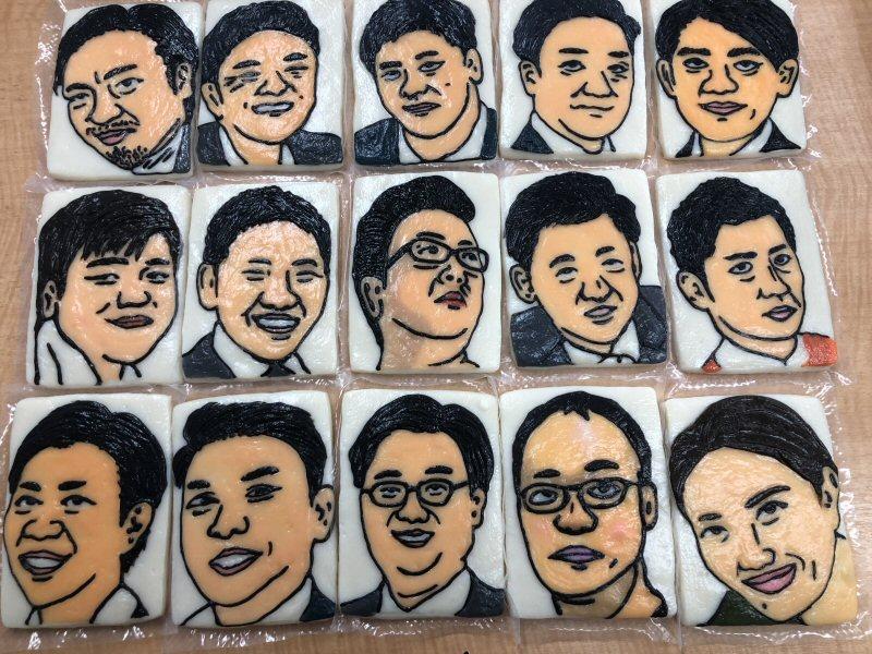 細工かまぼこで15人の似顔絵を作りましたが・・・