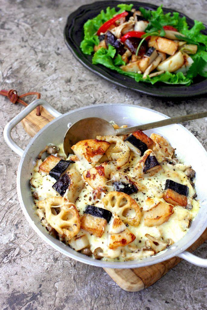 「秋の実り」と秋野菜の簡単グラタン&バルサミコマリネ